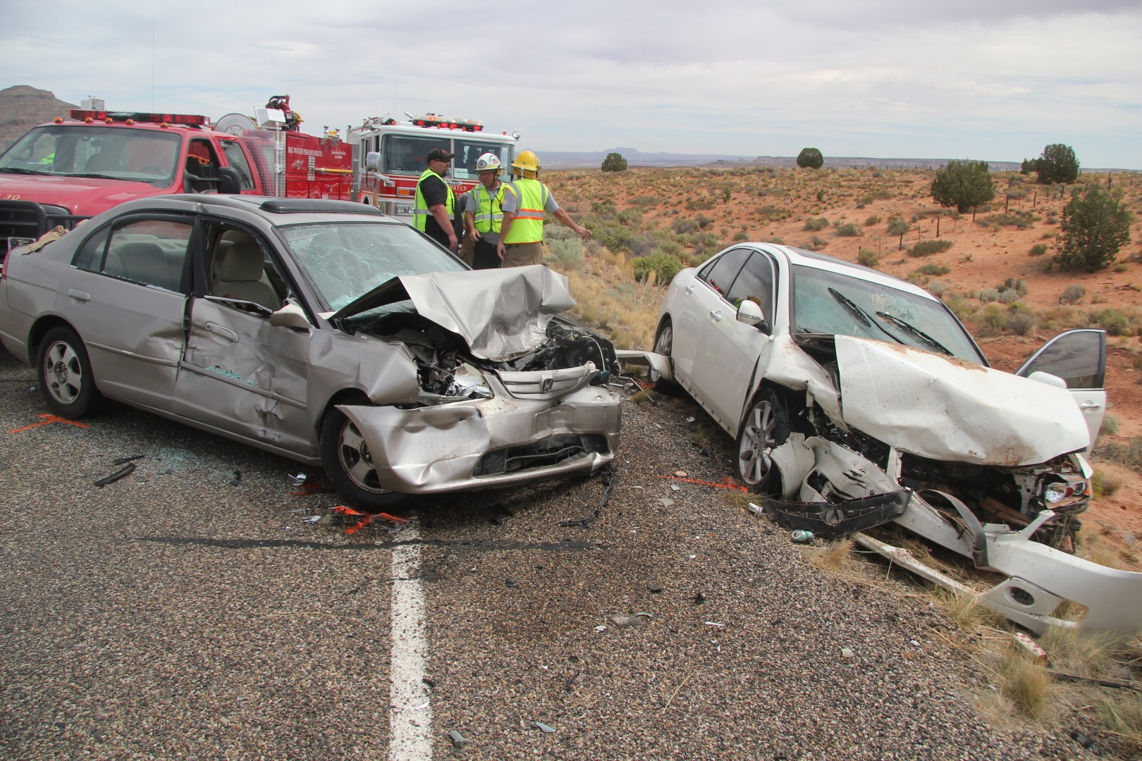 The aftermath of a head-on collision on state Route 89 in Kane County, Utah, Aug. 30, 2014 | Photo courtesy of Utah Highway Patrol, St. George News
