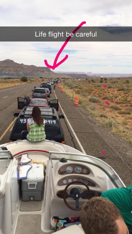 Photo shows traffic backed up as a result of the two-car collision   in Kane County, Utah, Aug 30, 2014.    Photo courtesy of Wendy Morgan, St. George News