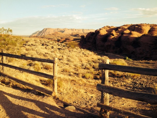 A gap in the fence indicates the trail start at Chuckwalla Trail, St. George, Utah, July 19, 2014 | Photo by Hollie Reina, St. George News