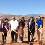 Invited dignitaries and others dig in at  the groundbreaking ceremony for The Retreat at Sunbrook assisted living facility, St. George, Utah, Sept. 23, 2014 | Photo by Hollie Reina, St. George News