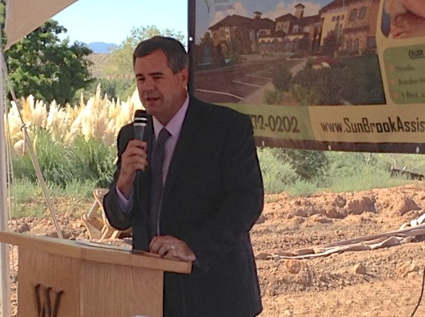 St. George Mayor Jon Pike addresses the attendees at  the groundbreaking ceremony for The Retreat at Sunbrook assisted living facility, St. George, Utah, Sept. 23, 2014 | Photo by Hollie Reina, St. George News