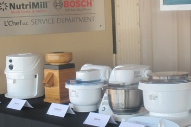 Grain mills on display at the opening of L'Chef's new assembly facility, St. George, Utah, Sept. 29, 2014 | Photo by Mori Kessler, St. George News