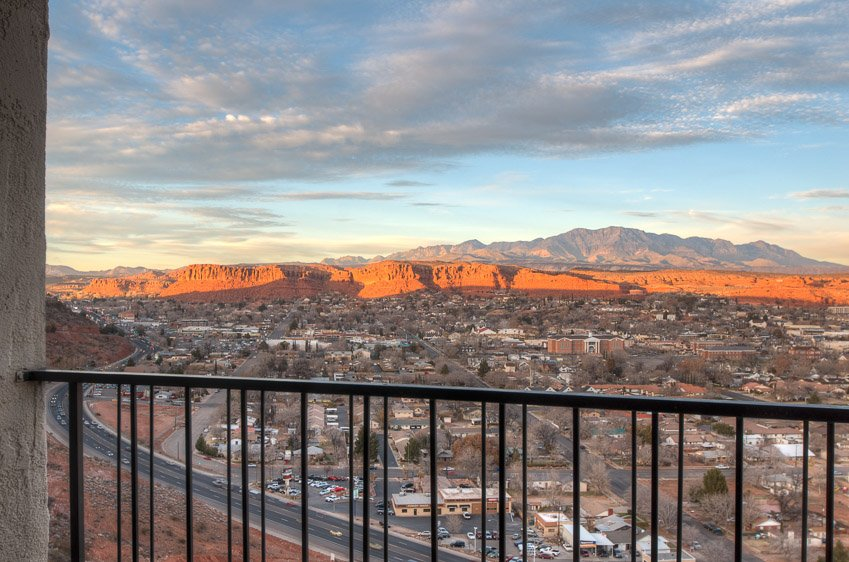 The view from the balcony of a room at the Inn on the Cliff located at 511 S. Airport Rd. in St. George, Utah, date unspecified | Photo courtesy of Tom Heers, St. George News