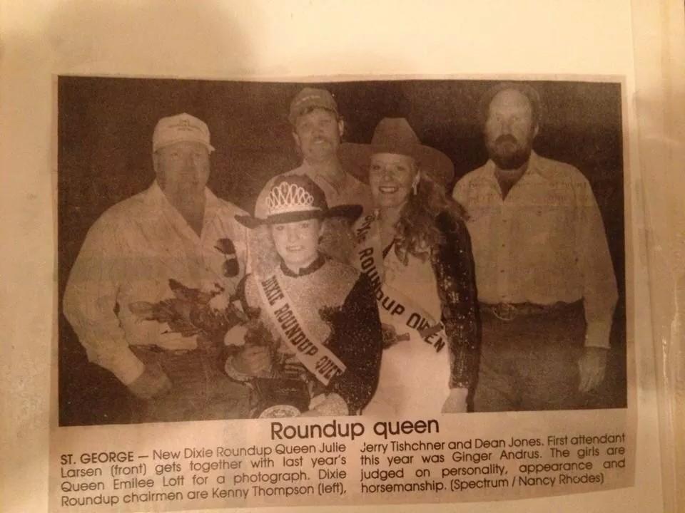 Newspaper clipping of Julie Larsen Bishop, Dixie Roundup Rodeo Queen 1991 | Photo courtesy of Julie Larsen Bishop