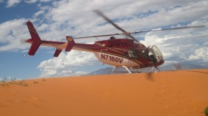 The Classic Lifeguard helicopter lands near the site of the mock ATV crash. Search and rescue training at Sand Hollow State Park, Hurricane, Utah, Sept. 20, 2014 | Photo by Mori Kessler, St. George News
