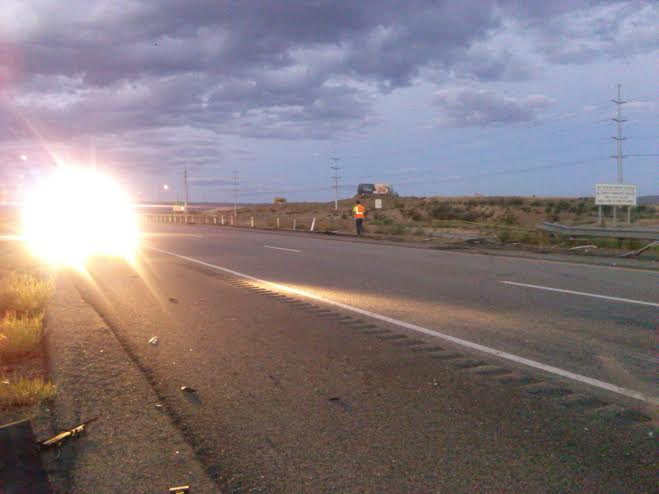 The aftermath of the accident where the guardrail peeled back from the cable barriers on Interstate 15 just south of the Southern Parkway Exit, Utah, Sept. 19, 2014   Photo by Aspen Stoddard, St. George News