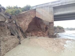 The damage sustained bridge crossing the Paria River causing the car to fall |  Photo courtesy of Garfield County Sheriff's Office, St. George News