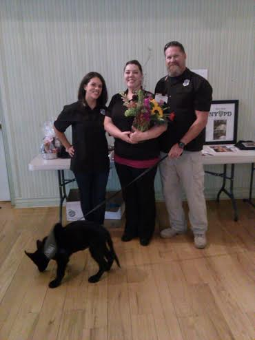 From left, Erin Chard, Ricki Draper and Timothy Chard stand with Vinnie at the Opera House located at 212 N. Main Street in St. George, Utah, Sept. 26, 2014 | Photo by Aspen Stoddard, St. George News