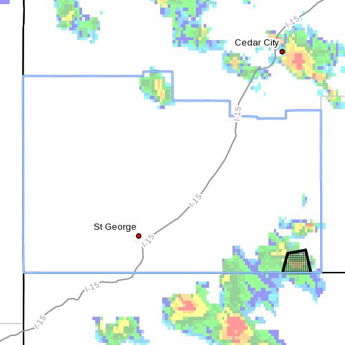 Mesh overlay denotes area subject to flood advisory, Washington County, Utah, 3:50 p.m. Sept. 17,  2014   Image courtesy of National Weather Service, St. George News