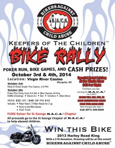 Flyer of Keepers of the Children Bike Rally for Bikers Against Child Abuse, Mesquite, Nevada, undated | Image courtesy of Shots