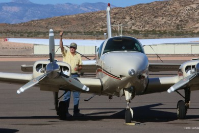Pilot Bill Williams gives a thumbs up after landing  safely following complications  with the plane's landing gear, St. George Municipal Airport, St. George, Utah, Oct. 20, 2014 | Photo by John Teas, St. George News