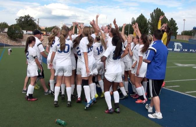 Dixie celebrates its win, Stansbury at Dixie, St. George, Utah, Oct. 18, 2014 | Photo by Samantha Tommer, St. George News