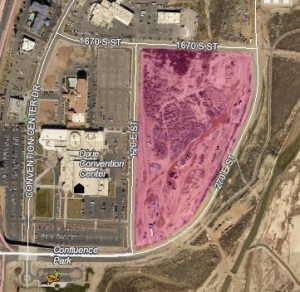 Island Trading Company may buy a 13-acre parcel of land (highlighted above) for the creation of a water park or a similarly entertainment-based venture for $6 million | Graphic courtesy of the City of St. George, GIS department, St. George News