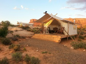 """Two """"deluxe"""" tents on the outskirts of the property at Moab's """"glamping"""" resort, Moab Under Canvas, Moab, Utah, Sept. 16, 2014 