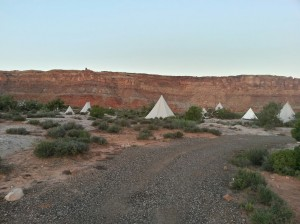 """A group of tipis at Moab's """"glamping"""" resort, Moab Under Canvas, Moab, Utah, Sept. 16, 2014 