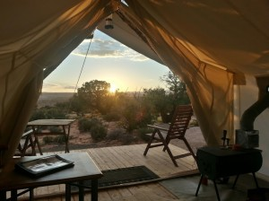 """A view into Arches National Park from the interior of a deluxe tent at Moab's """"glamping"""" resort, Moab Under Canvas, Moab, Utah, Sept. 15, 2014 
