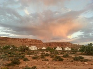 """A group of tents and tipis at Moab's """"glamping"""" resort, Moab Under Canvas, Moab, Utah, Sept. 16, 2014 