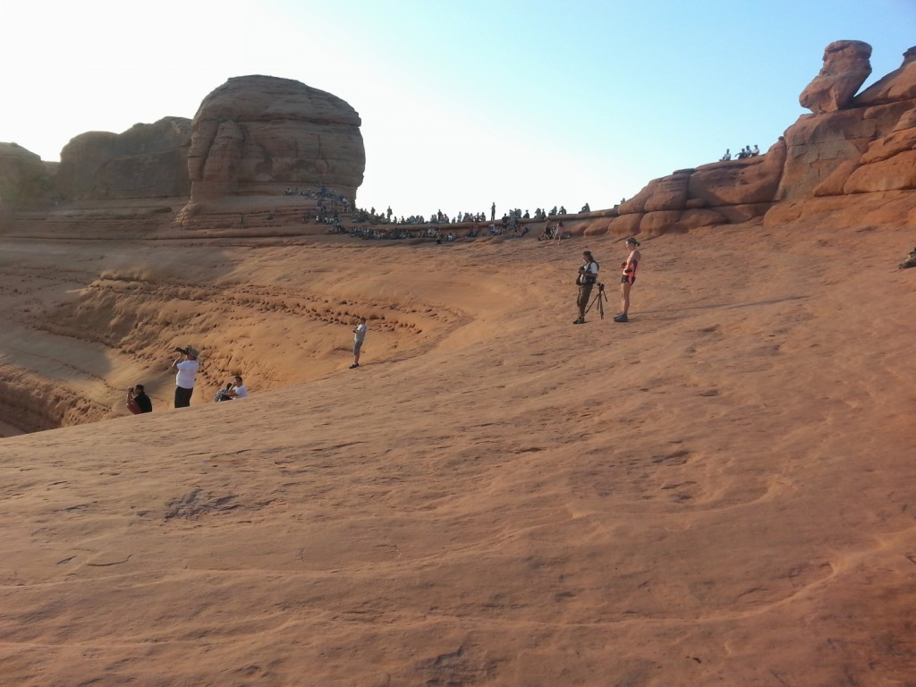 A crowd waits for the sunset near the Delicate Arch, Arches National Park, Utah, Sept. 14, 2014   Photo by Drew Allred, St. George News