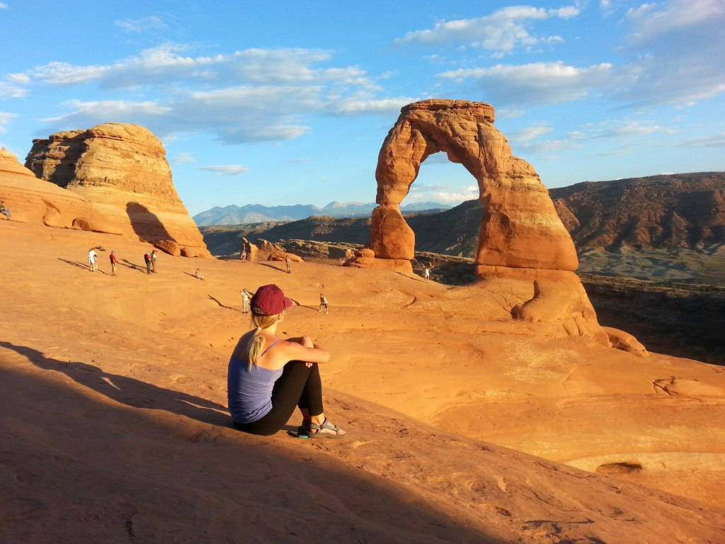 Enjoying the view of the Delicate Arch, Arches National Park, Utah, Sept. 14, 2014 | Photo by Drew Allred, St. George News