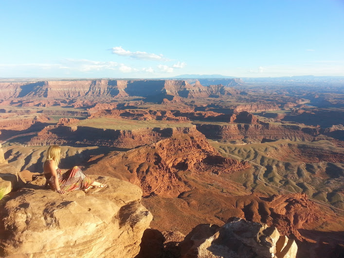 Tami Thomas enjoys the view from the Dead Horse Point Overlook, Dead Horse Point State Park, Utah, Sept. 15, 2014 | Photo by Drew Allred, St. George News