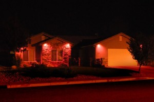 Neighbors have inserted pink light bulbs and hung pink ribbons to show support for the Petersen family, Ivins, Utah, Oct. 16, 2014 | Photo courtesy of James Thayn, St. George News