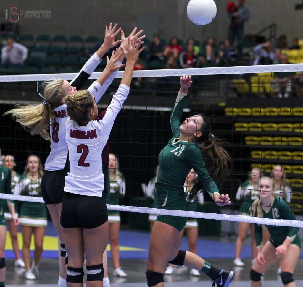 "Alexsa ""Crash"" Parker tips a ball during the state championship match, 2014 3A State Volleyball Tournament, Orem, Utah, Oct. 30, 2014 