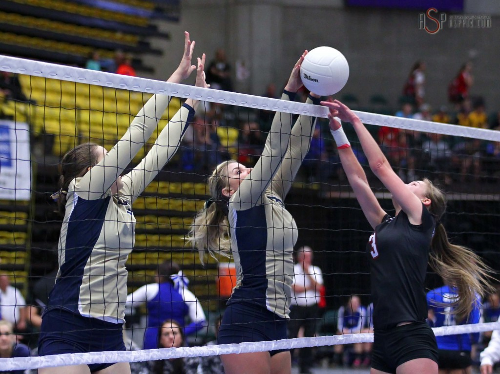 Snow Canyon's Jordan Gines (right) and Maggie Root (left) team up for a block, 2014 3A State Volleyball Tournament, Orem, Utah, Oct. 29, 2014 | Photo by Robert Hoppie, ASPpix.com, St. George News