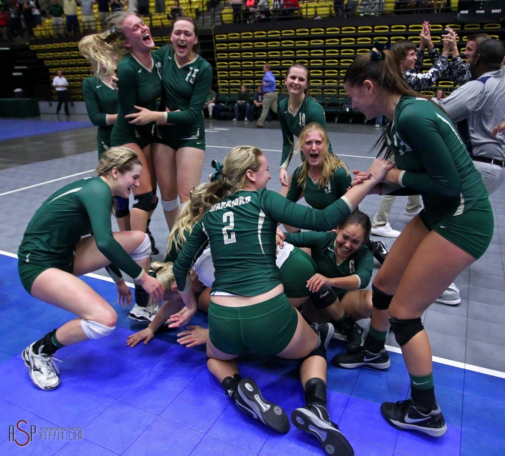 The Snow Canyon Warriors celebrate their state championship, 2014 3A State Volleyball Tournament, Orem, Utah, Oct. 30, 2014   Photo by Robert Hoppie, ASPpix.com, St. George News