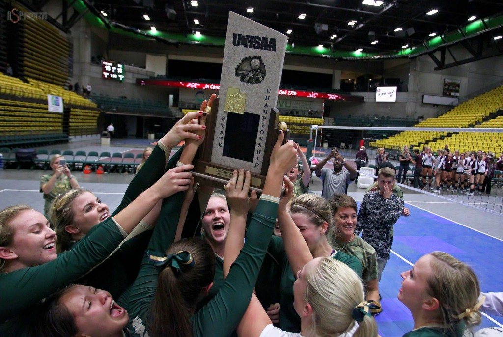 Snow Canyon hoists the championship trophy, 2014 3A State Volleyball Tournament, Orem, Utah, Oct. 30, 2014 | Photo by Robert Hoppie, ASPpix.com, St. George News