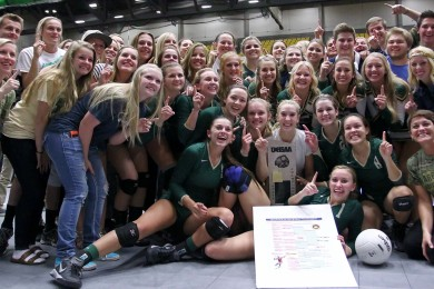 The Snow Canyon Warriors and their fans celebrate the state championship, 2014 3A State Volleyball Tournament, Orem, Utah, Oct. 30, 2014 | Photo by Robert Hoppie, ASPpix.com, St. George News