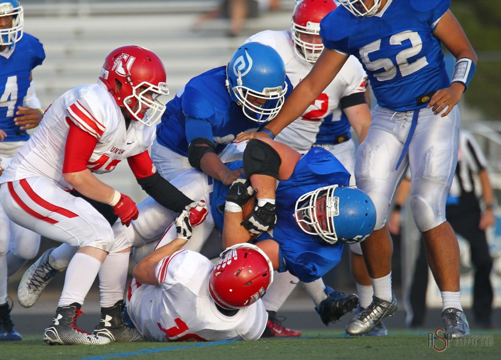 Flyer defender Jeff Martinez strips the ball from a Uintah player, Dixie vs. Uintah,  St. George, Utah, Oct. 31, 2014 | Photo by Robert Hoppie, ASPpix.com, St. George News