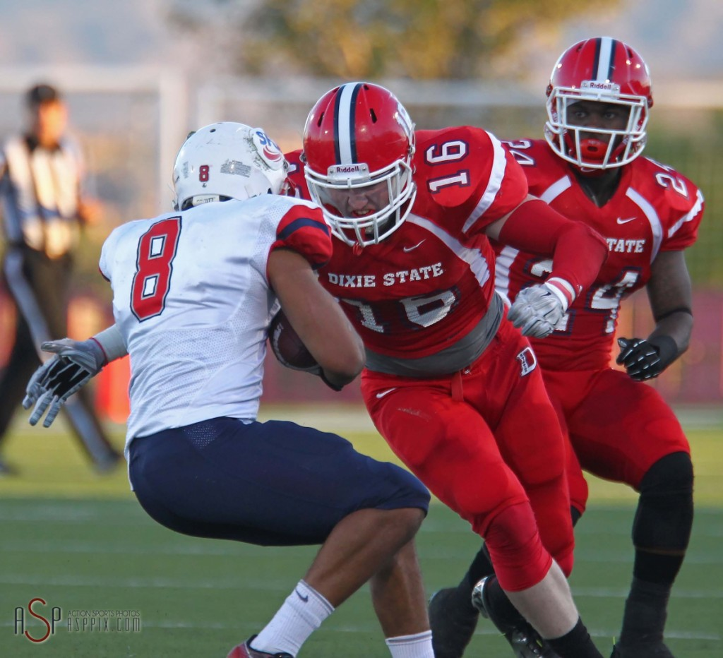 Dixie State linebacker Robert Metz (16) will also pareticipate in the SUU Pro Day at DHHS, file photo from Dixie State vs. Simon Fraser, St. George, Utah, Oct. 4, 2014 | Photo by Robert Hoppie, ASPpix.com, St. George News