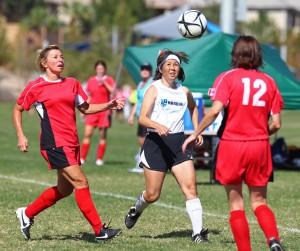 Hawaii 50 vs. Canadian Shooters, Huntsman Senior Games, Womens Soccer , Utah, Oct. 11, 2014   Photo by Robert Hoppie, ASPpix.com, St. George News