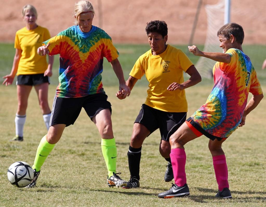 3 Left Feet vs. Texas Heat, Huntsman World Senior Games, Womens Soccer , Utah, Oct. 11, 2014   Photo by Robert Hoppie, ASPpix.com, St. George News