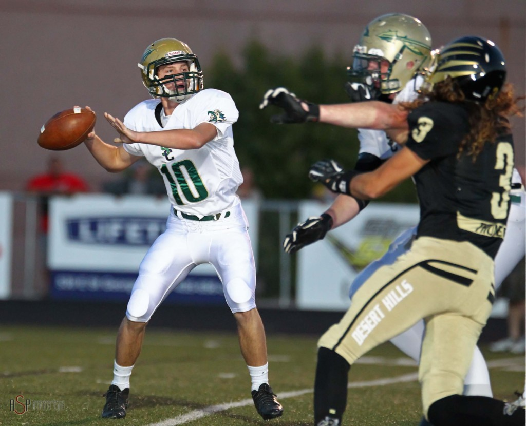 Warrior Quarterback Jackson Nowatzke, File photo from Desert Hills vs.Snow Canyon,  St. George, Utah, Oct. 15, 2014 | Photo by Robert Hoppie, ASPpix.com, St. George News