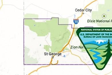 Map of Washington County, Utah, 2014, BLM Logo | Map courtesy of Google 2014, BLM logo courtesy of Bureau of Land Management, St. George News
