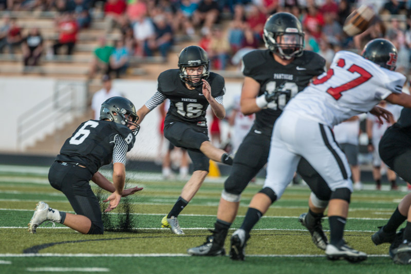 Ethan Baer (16) made five field goals, Hurricane at Pine View, St. George, Utah, Oct. 9, 2014 | Photo by Dave Amodt, St. George News