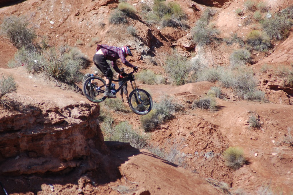 Riders take to the rugged course in Southern Utah to compete in the Red Bull Rampage,Virgin, Utah, Sept. 29, 2014 | All licensed images are printed with the express permission of Red Bull Media House North America, Inc., Photo by Hollie Reina, St. George News