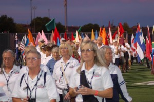 Athletes enter the stadium at the opening ceremonies of the Huntsman World Senior Games, St. George, Utah, Oct. 7, 2014 | Photo by Hollie Reina, St. George News