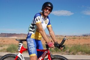 Walt Schafer pauses for a photo after the time trials event in the cycling competition of the Huntsman World Senior Games, St. George, Utah, Oct. 8, 2014 | Photo by Hollie Reina, St. George News