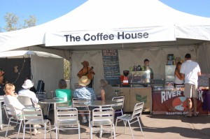 Live music is played at The Coffee House starting at 10 a.m. each day during the Art in Kayenta Festival, Ivins, Utah, Oct. 10, 2014 | Photo by Hollie Reina, St. George News