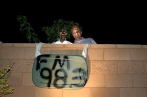 Homeowner Brent Martin and his zombie pal invite guests to come see what is in store for them on the other side, Washington City, Utah, Oct. 23, 2014 | Photo by Hollie Reina, St. George News