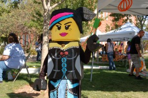 Abigail Mitchell wears a homemade Lego Movie costume made by her mother at the Spooky Town Fair, St. George, Utah, Oct. 25, 2014   Photo by Hollie Reina, St. George News