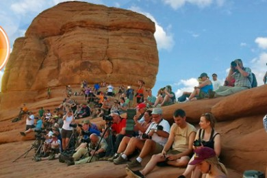 A crowd waits for the sunset near the end of the Delicate Arch Trail, Arches National Park, Utah, Sept. 14, 2014 | Photo by Drew Allred, St. George News