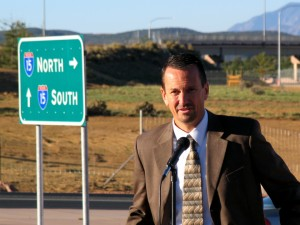 Utah Department of Transportation Region 4 Director Rick Torgerson spoke Friday morning at the South Cedar City Interchange Grand Opening. Photo taken by St. George News | KCSG TV Reporter Carin Miller