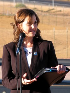 Cedar City Mayor Maile Wilson speaks at the South Cedar Interchange grand opening, Cedar City, Utah, Oct. 24, 2014 | Photo by Carin Miller, St. George News, KCSG-TV