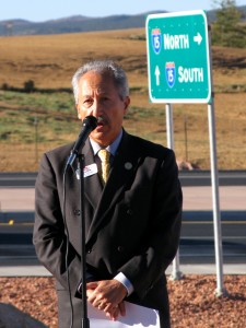 Utah Transportation Commissioner Naghi Zeenati spoke Friday morning at the South Cedar City Interchange Grand Opening. Photo taken by St. George News | KCSG TV Reporter Carin Miller