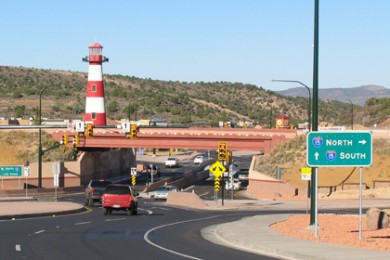 The new diverging diamond interchange at I-15 Exit 57 at the south end of Cedar City, Utah, Oct. 24, 2014 | Photo by Carin Miller, St. George News, KCSG-TV