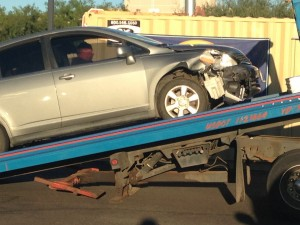 A Nissan Versa was among two vehicles struck as a result of drivers failing to yield, St. George, Utah, Oct. 2, 2014 | Photo by Holly Coombs, St. George News