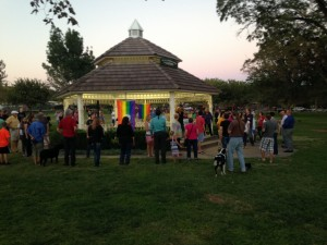 """Members and supporters of the lesbian, gay, bi-sexual, and transgender community participate in a """"love tunnel"""" as they celebrate same-sex marriage legalized in Utah, St. George, Utah, Oct. 6, 2014 